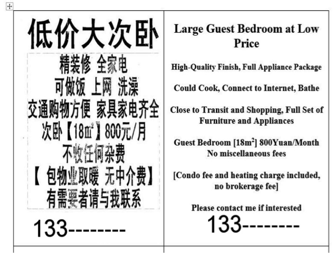 FIGURE 1: Poster in a suburb of Beijing advertising a room to rent in a subdivided apartment