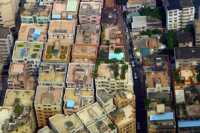 Handshake buildings in one of Shenzhen's urban villages.